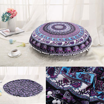 Bohemian Elephant  Style Tapestry Flower Mandala Pillow Seat Decorative Pillowcase Plush Material 75x75cm