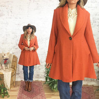 Vintage 1970's Orange MARMALADE Wool Upholstery Relaxed Swing Coat || Size Small