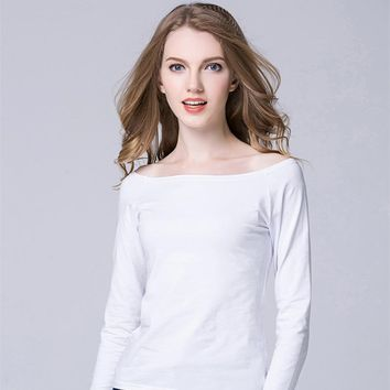 4fbb010bf38 Casual White Women Shirt Ladies Solid Elegant Sexy Neck Tops Lon