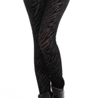Black Burned Velvet Zebra Leggings Design 107