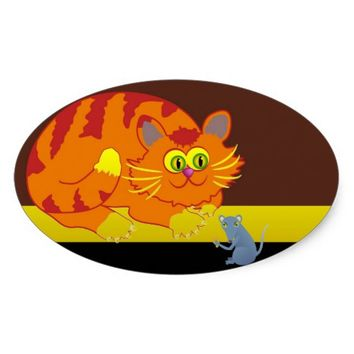 Cat & Mouse Oval Sticker
