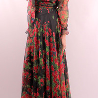 Vintage 60s 70s - Sheer Chiffon Black & Red Floral - See Through Sleeves - Full Sweep Maxi Party Dress Gown - Rona