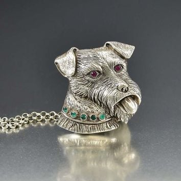 Emerald and Ruby Fox Terrier Dog Brooch Pendant