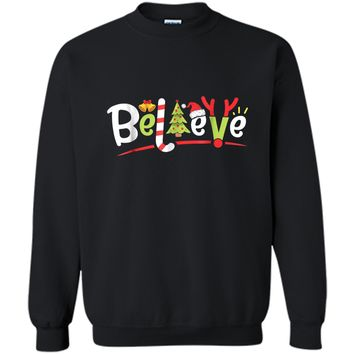 Christmas  for Kids Boys Girls Believe Xmas Tree Gifts Printed Crewneck Pullover Sweatshirt