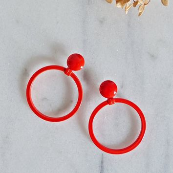 Vintage 1980s Tomato Red + Metal Hoop Earrings