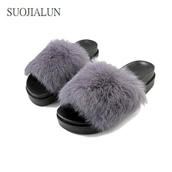 Women Fur Slides Shoes Fuzzy Slippers Women Sandals Warm House Slippers Lady Shoes Summer Fluffy Mujer Indoor Flip Flops