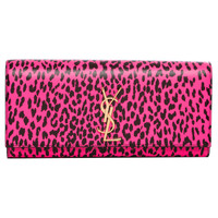 Saint Laurent 'Cassandre' Pink/ Black Leopard Print Leather Clutch