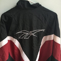 vintage red/black/white reebok windbreaker / large