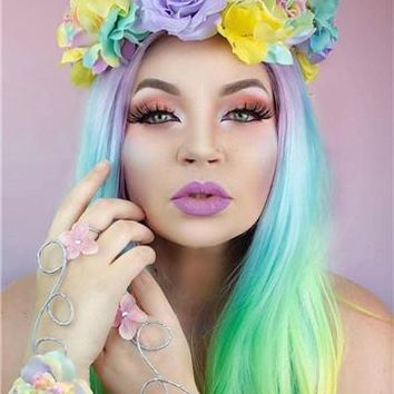 Long Rainbow Multicolor Wave Synthetic Lace Front Wig
