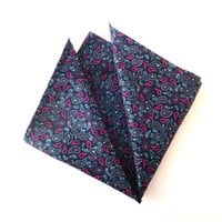 Blue Paisley Pocket Square, Blue Pocket Square, Mens Pocket Square, Wedding Pocket Square, Pocket Square with Pink Paisleys, Handkerchief