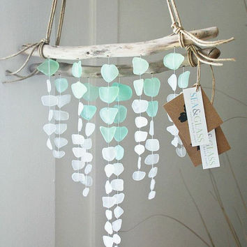 Mini V-Shape Sea Glass Mobile Made-to-Order / Wall Hanging / Rus & Best Sea Glass Wall Art Products on Wanelo