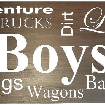 Wooden Wall Sign 20x9 - Boys