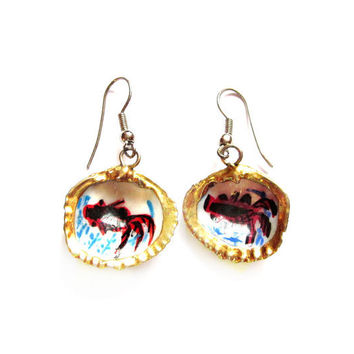 Gold Gilt, Painted Koi Fish Clam Shell Earrings