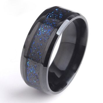 CAXXBY Brand Black Stainless Steel 316L Ring for Wedding Ring Fiber Ring Carbon Blue Des Nibelungen Dragon Rings for Men