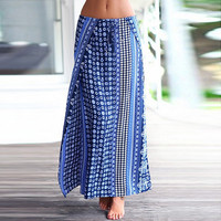 Geo Print Low Waist High Slit A-Line Maxi Skirt