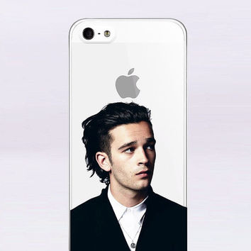 "Matt Healy THE 1975 Band Case"" Thin Clear Transparent TPU Soft Case Cover Dust Plug For iPhone 5/5s/6"