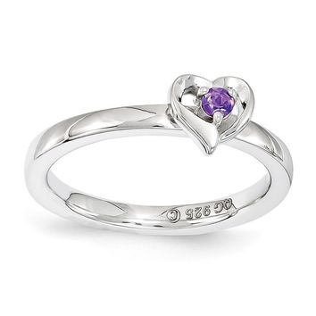 Sterling Silver Stackable Expressions Amethyst 6mm Heart Ring
