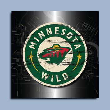 Minnesota Wild Hockey Map Art Print