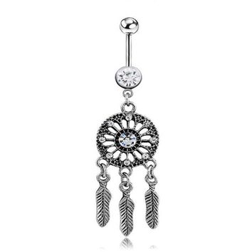 ac DCCKO2Q New Dangle Dreamcatch Tassel Rhinestone Body Piercing Dangle Crystal Navel Belly Button Bar Barbell Rings Free shipping