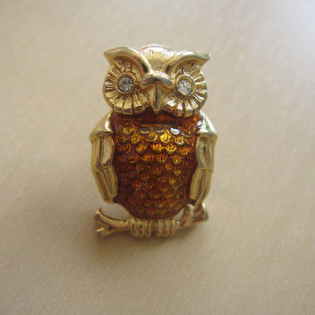 Vintage Owl Bird Figural Gold Tone Small Pin Brooch, Orange Brown Enamel, Bright Rhinestone Crystal Eyes Mad Men mid-century style