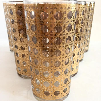 Gold Highball Glasses, Set of 7 Culver Cannella 22k Gold Tumblers, Gold Cane Pattern Drinking Glasses, Mid Century Barware
