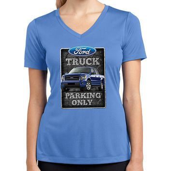 Ford Truck T-shirt Parking Sign Ladies Dry Wicking V-Neck