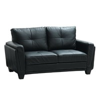 Homelegance 9701BLK-2 Dwyer Love Seat, Black Vinyl Fabric