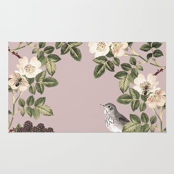 Birds and the Bees Pink Berry Rug by Nature Magick