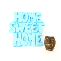home sweet home, wall decor, typography, retro, word art, signs, turquoise, aqua, home decor, wall art