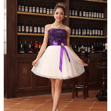 Real Elegant Strapless Four color Lace up Short Prom Dresses Ruched Bodice Mini Design Cocktail Princess Dress