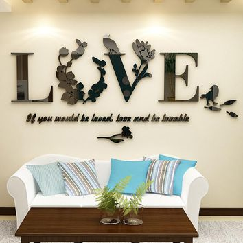 Letter LOVE 3D Mirror LOVE Wall Sticker Romantic Bedroom Decal DIY Acrylic Leaf /Bird/Flower LOVE Stickers Removable drop ship