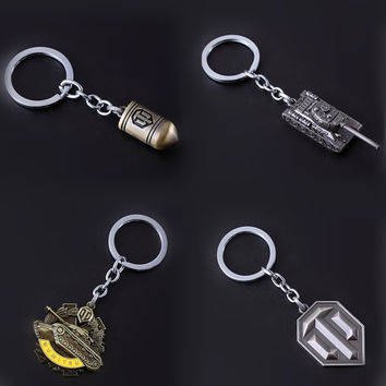 Game World of Tanks WOT Silver coppery All Metal Bullet Symbol Keychain Dumitru  Key chain Ring For Men's Gifts