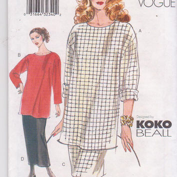 Koko Beall pattern for very loose fitting, thigh length, pullover top and skirt in knee or calf length misses size 8 10 12 Vogue 7336 UNCUT
