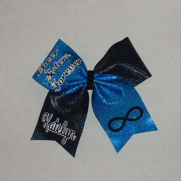 Two Cheer Sister Forever  Cheer Bows Personalize with your names and choice of colors