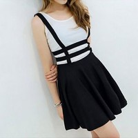 Korean Lady's Zips Braces Suspender Skirt Hollow Out Grid Flared Umbrella Skirts