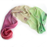 Watermelon Marigolds Ombre scarf. Small silk scarf in green and pink, coral. Hand painted scarves. Womans fashion scarf