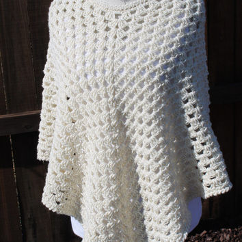 Hand Crochet : Hand Crochet Shawl / Poncho Granny Square-Cream with Gold speckles
