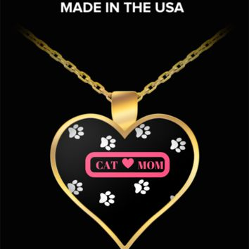 *Attention Cat Moms* Turn Your Jewelry into aPpiece of Purrrfect Cat Art! Hint: Purrfect Gift for Cat Lover Woman - Cat Mom Heart Necklace Pink