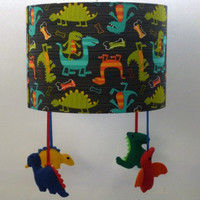 Dinosaur nursery lampshade - Playroom decor - Boy and girl room theme - Ideal present for dinosaur lovers,new mums, baby showers