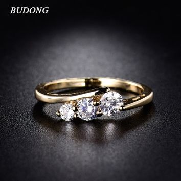 BUDONG AAA+ Infinity Ring Band Midi Rings for Women Cubic Zirconia Engagement Ring Gold-Color Wedding Jewelry for Women XUR018