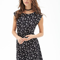 FOREVER 21 Ditsy Floral Jersey Dress Black/Cream
