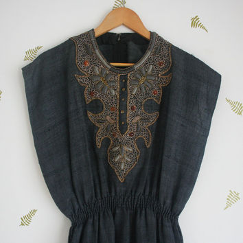 vintage linen dress / indian / embroidery / beading / smoky grey blue / side slits / small / medium