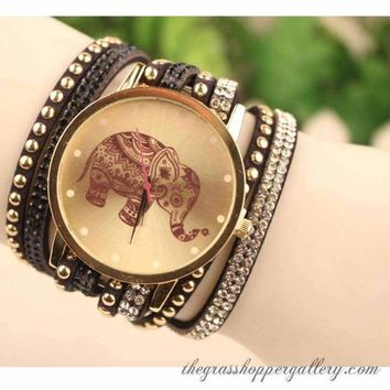 Trunk Up For Luck!!! Bangle Watch With Elephant Motif