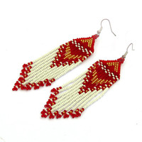 Native American Earrings Inspired. White Gold Red Earrings. Dangle Long Earrings. Beadwork