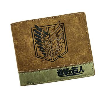Japanese Anime Poke/ Death Note/ Attack on Titan/ One Piece/ Game OW Short Wallet With Coin Pocket Zipper Poucht Billetera
