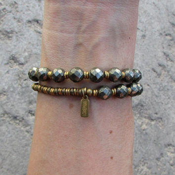 Confidence and strength, Pyrite 27 bead mala bracelet