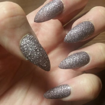 Lilac Silver Textured Glitter Nails