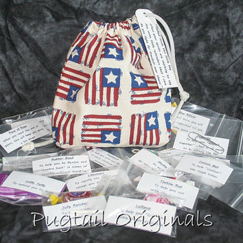 Military Deployment Survival Kit/Bag - Morale Booster - Americal Flags - Army, Navy, Air Force, Marines, Coast Guard
