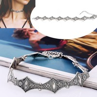 Gothic Bat Shape Choker Necklace For Women Vintage Flower Collar Necklace Jewelry