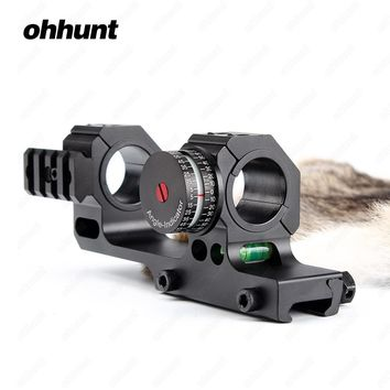 """ohhunt High Accuracy 1"""" 30mm Offset Bi-direction Picatinny Weaver Rings Scope Mount w/ Angle Cosine Indicator Kit and Bubb Level"""